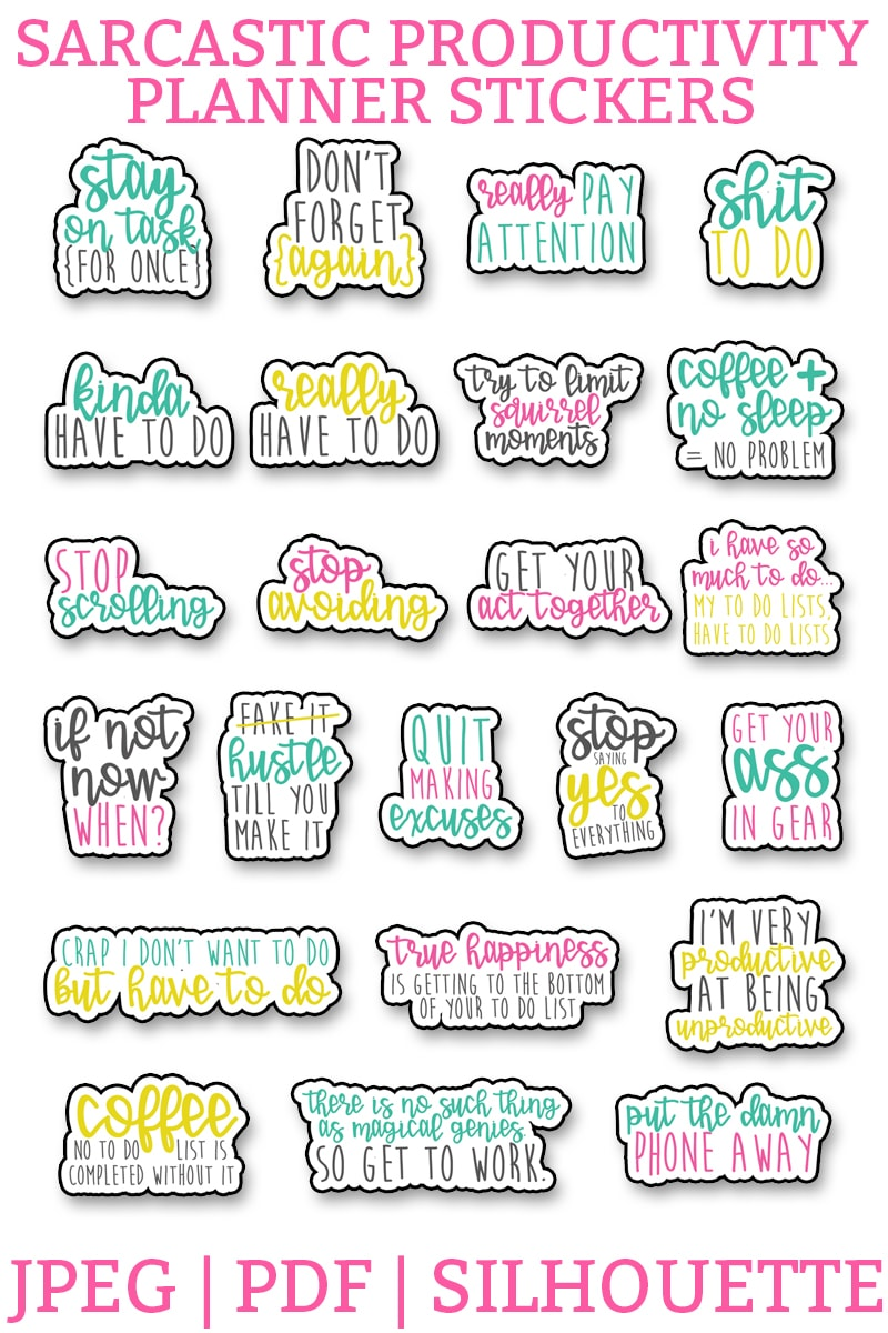 Free Sarcastic productivity planner stickers. Download this set of funny, sarcastic stickers, to help you complete your to do list. Perfect for the Happy Planner, Erin Condren, Reflections, etc. #planneraddict #plannerlover #plannerprintables