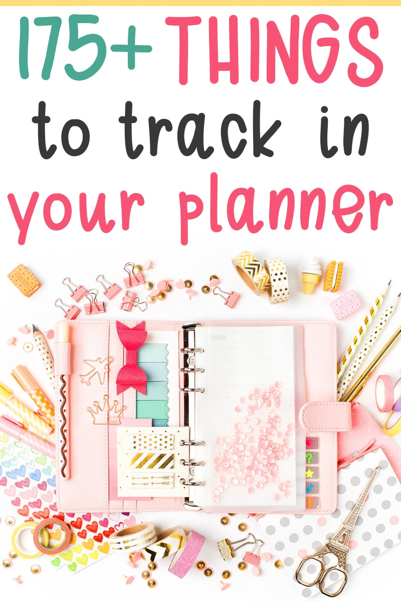 Finding things to track in your planner can be difficult at times. Look no further! I have over 175 ideas of things you can use your planner to track! #planneraddict #plannerlover