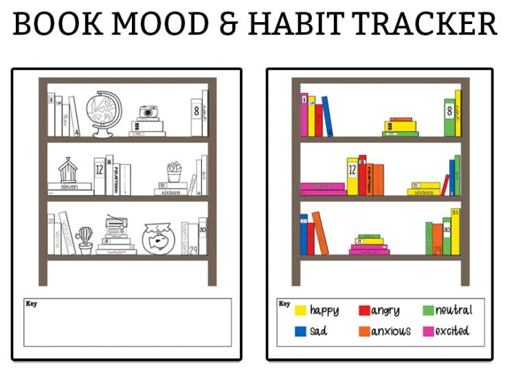 Book-Themed Mood Tracker and Habit Tracker - 2 Free Designs