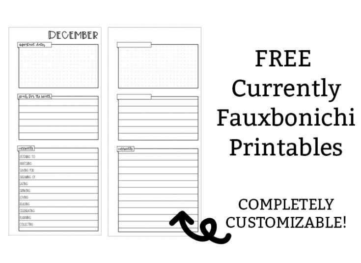 Free Currently Fauxbonichi Planner Printable