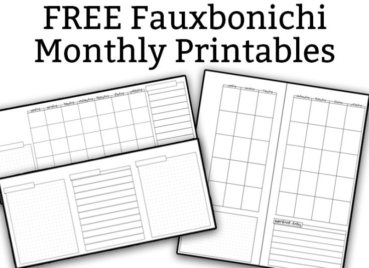 Free Monthly Fauxbonichi Printables - Bullet Journal Style Monthly Spreads