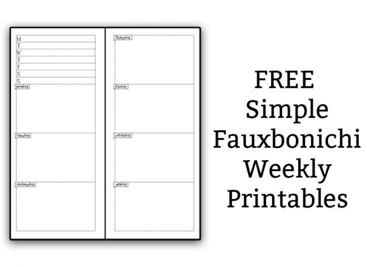 Free Weekly Fauxbonichi Printables