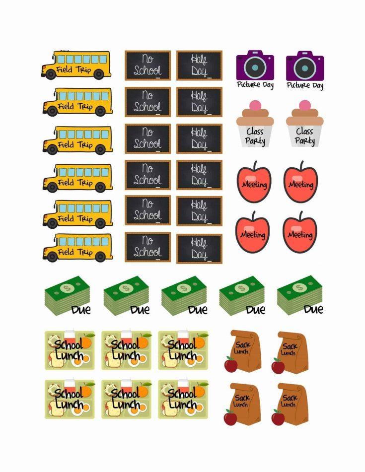 School Planner Stickers {Free Printable}