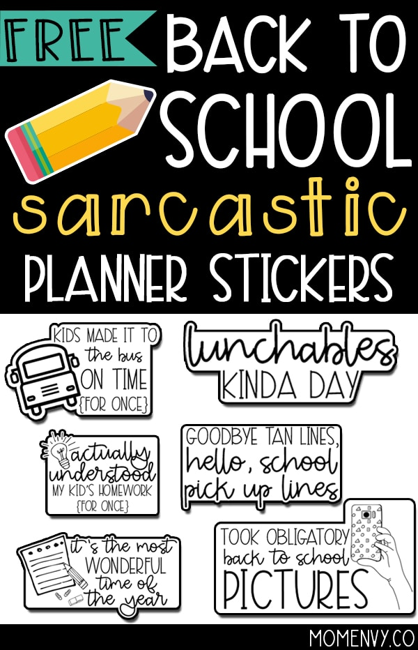 Picture of a pin for pinterest with some examples of the back to school planner stickers. There is a black background on the top of the image with white text that says back to school sarcastic planner stickers. There is a drawing of a pencil and examples of the back to school stickers below that.
