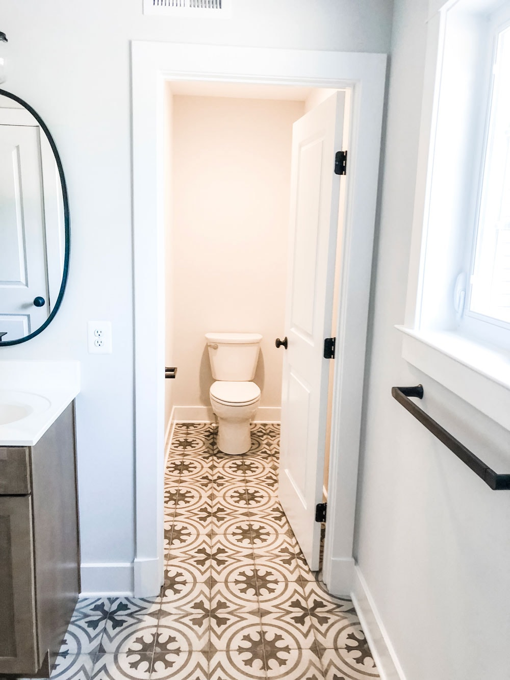 Custom home tour photos. This photo shows a toilet in a separate water closet. The toilet is white and the flooring has a gray and white patterned tile.