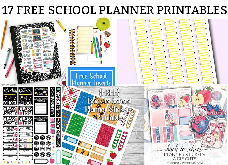 Free school planner printables main image including pictures of various planner freebies including pencil stickers, apple sticker and die cut, etc.