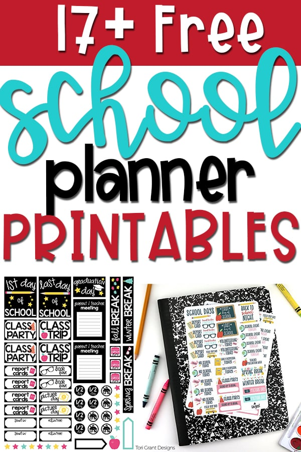 Free school planner printable pin for Pinterest. Red background at the top with 17+ free on top. Then school planner printables below that. Two examples of free school planner stickers.