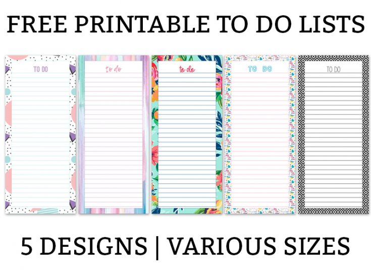 Printable To Do Lists - 5 Different Designs in Various Sizes