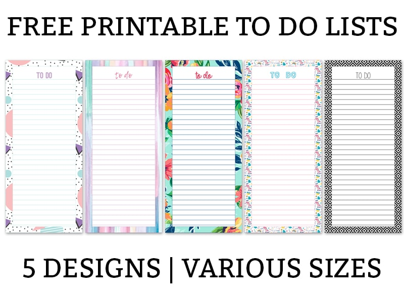 picture relating to Printable Lists known as Printable Toward Do Lists - 5 Substitute Styles inside of Distinct Measurements