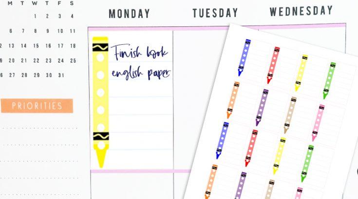 Free Printable Crayons School Checklist Stickers (Full Box)
