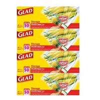 Glad Zipper Food Storage Plastic Bags - Gallon - 50 Count - 4 Pack
