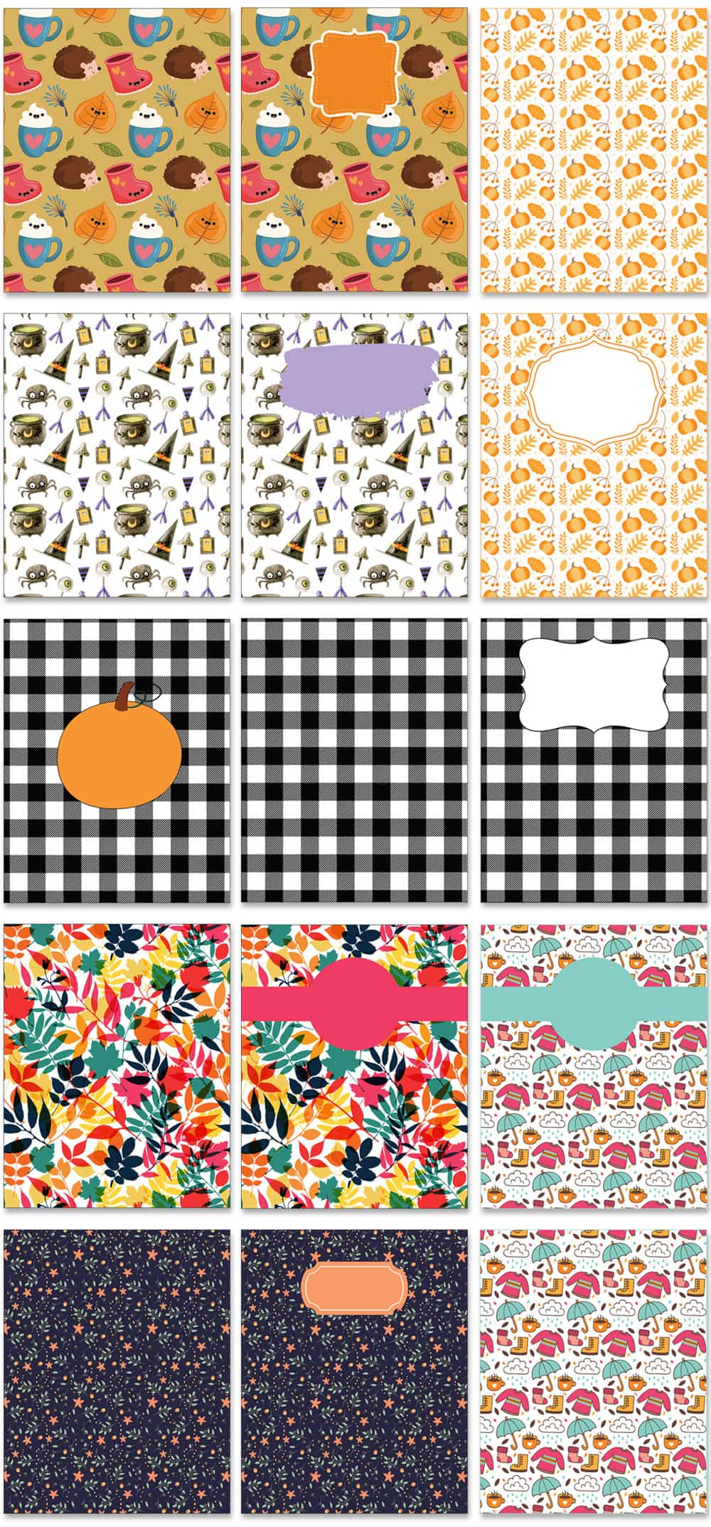 Picture of various fall planner and fall binder covers. There are 15 covers, 3 across and 5 down, in a grid. They have pumpkin designs, witch designs, black and white design, and fall floral colors.