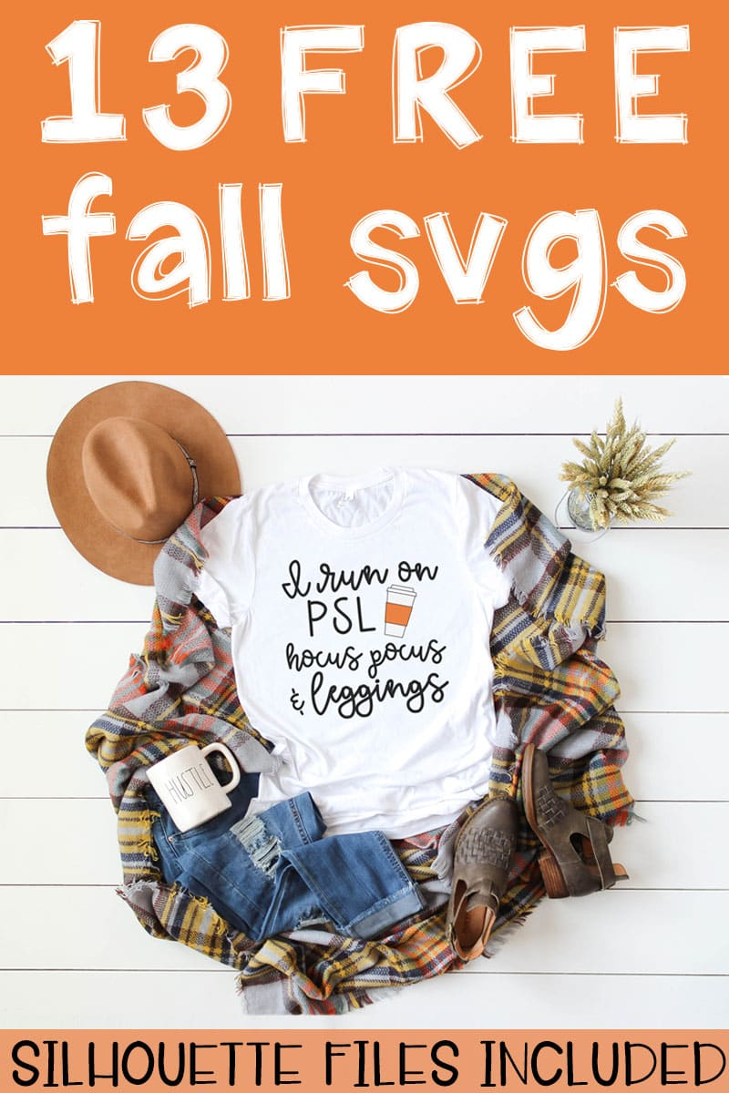 This picture represents an example of the free fall svgs included in this set. This is just one of the options available involving the phrase I Run On... White t-shirt laying on a brown, yellow, orange, and white, plaid blanket. There is a white mug that says hustle in the bottom left on top of a pair of ripped up blue jeans. There are also a pair of brown booties on the far right bottom corner and a tan hat in the top left. The title: 13 free fall svgs is at the top in white on top of a orange rectangle. The words, Silhouette Files Included is at the bottom in white on an orange rectangle.