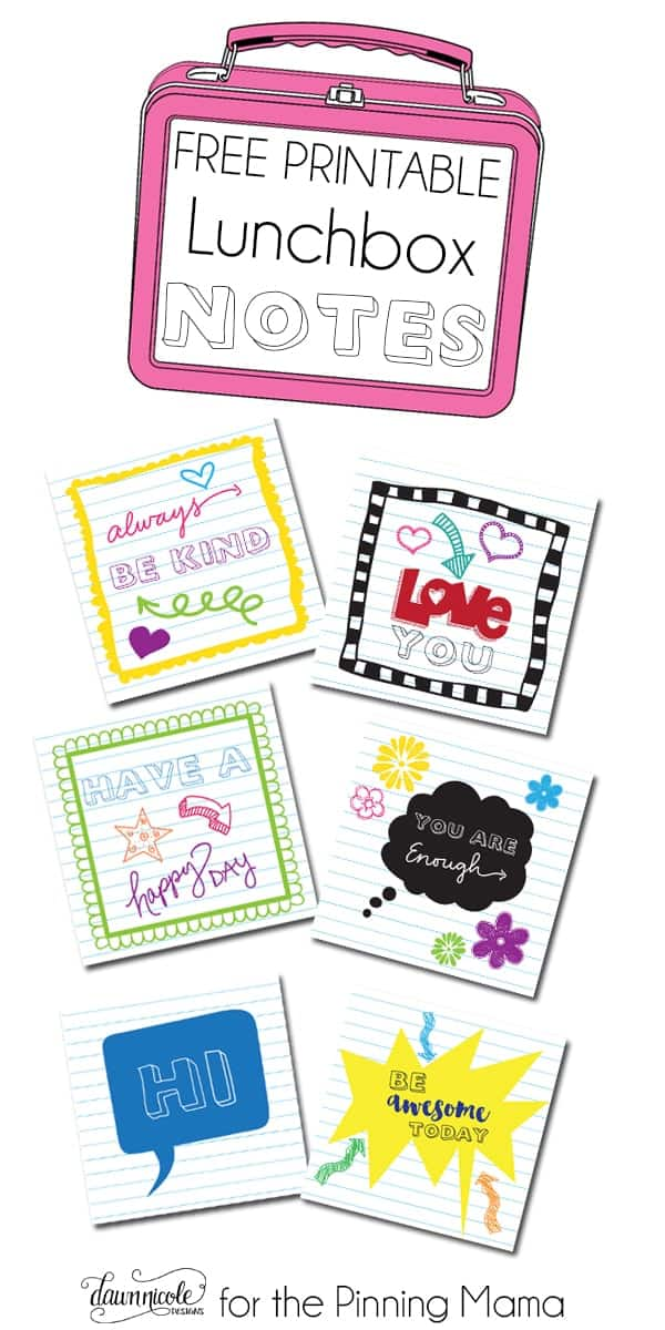 Free Printable Lunch Box Notes • The Pinning Mama