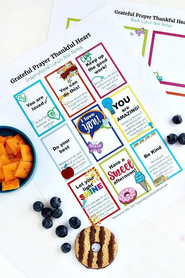 Free Printable Lunch Box Notes & Cards | Grateful Prayer