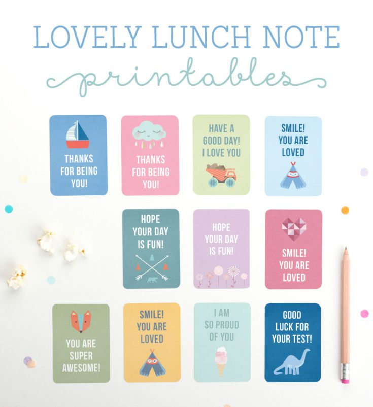 Lovely Lunch Note Printables - Tinyme Blog