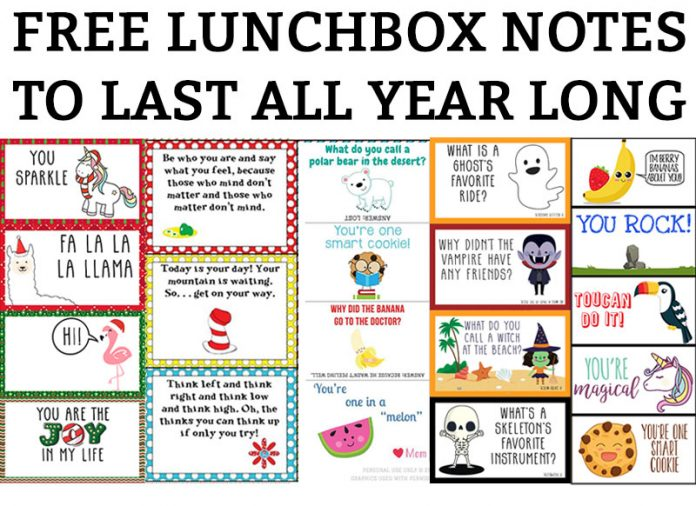 This image includes multiple images of different lunch notes for kids. It has the title: lunchbox notes to last all year long.