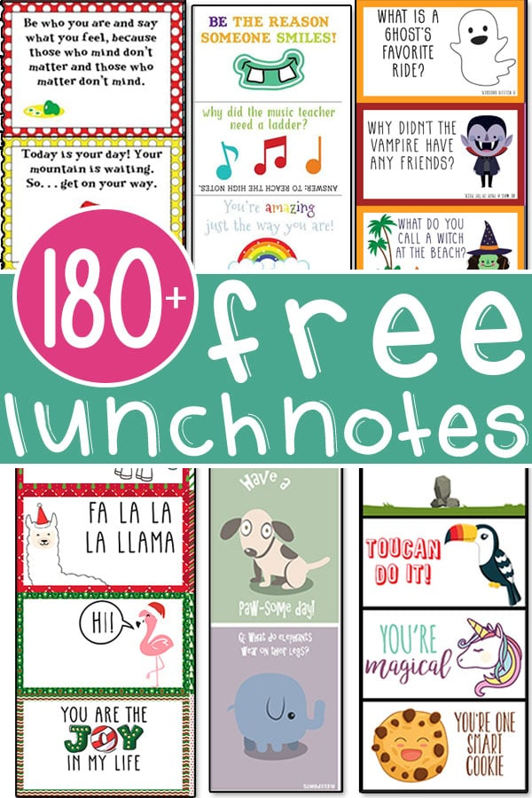 This image includes multiple images of different lunch notes for kids. It has the title: 180+ free lunchnotes.