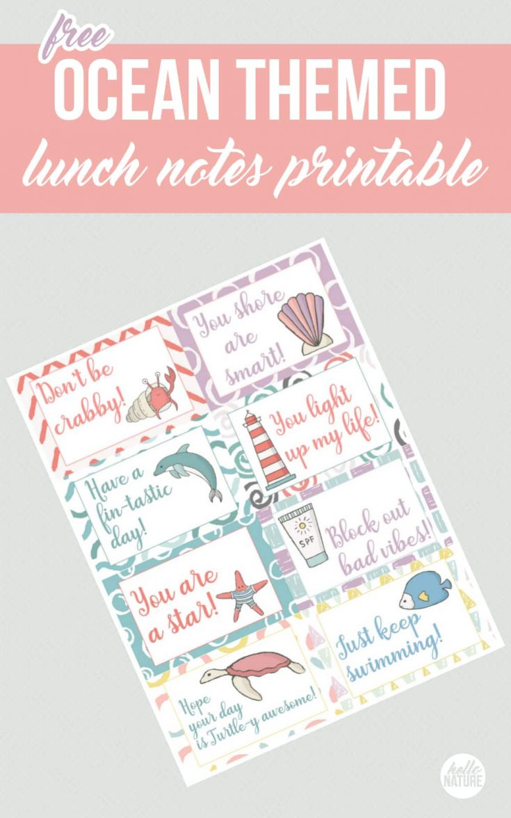 Ocean Themed Free Printable Lunch Box Notes Your Kid Will Shorely Love