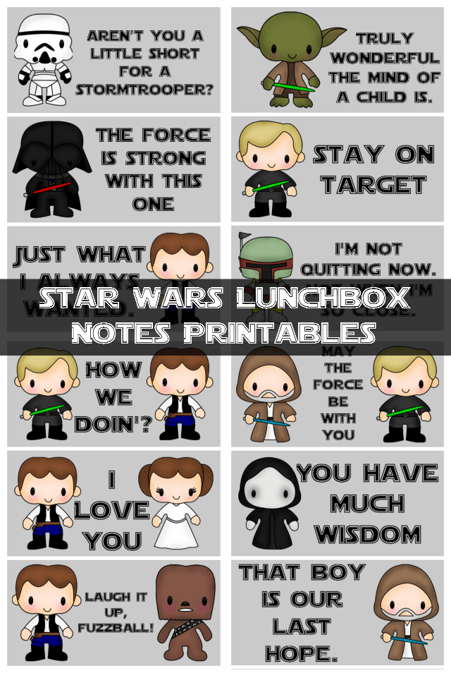 Star Wars Lunchbox Notes Printables