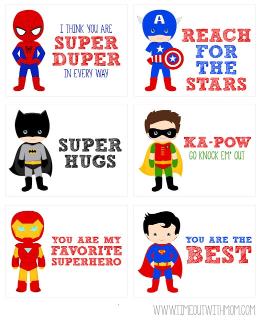 Printable Superhero Lunch Box Notes