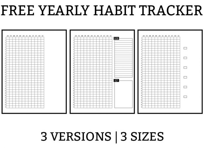 Picture of a yearly habit tracker with the days of the month running down the left side and the months at the top of the graph. There is a box on the right for the key. There is also a box with lines in it to write a goal for the year.