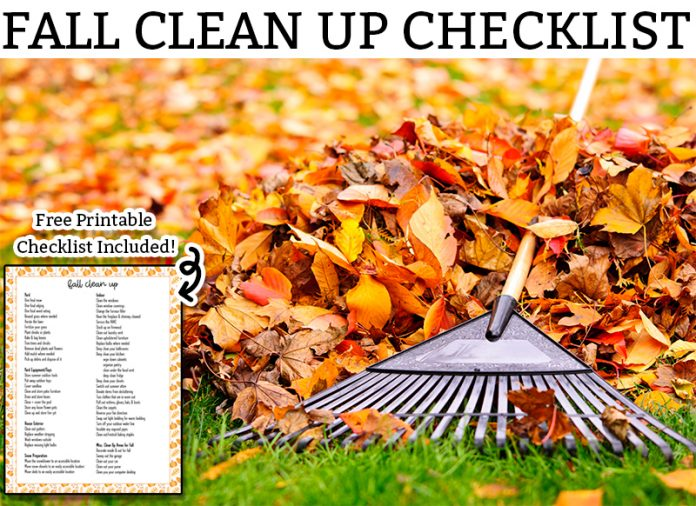 picture of fall clean up - someone raking fallen bright orange and yellow leaves with the title fall clean up checklist above that.