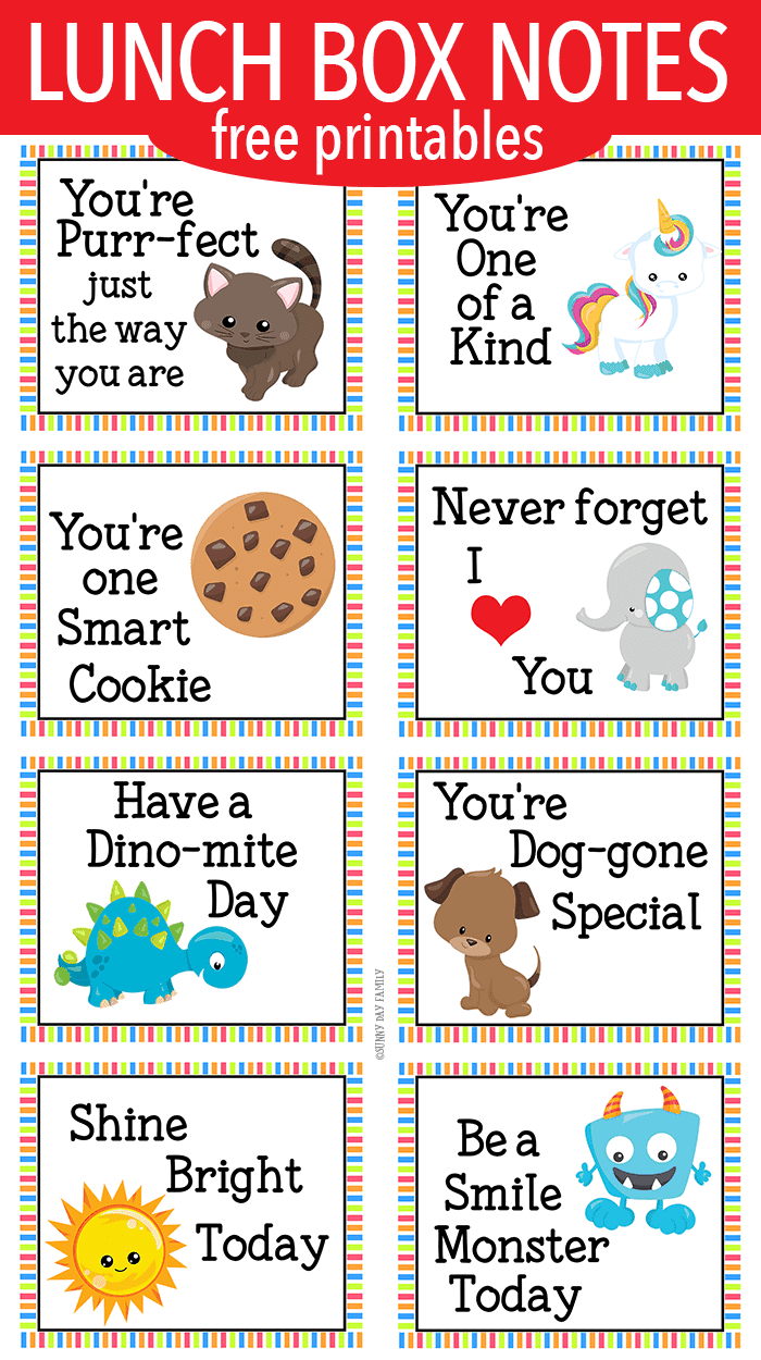 Encouraging Lunch Box Notes for Little Kids | Free Printable