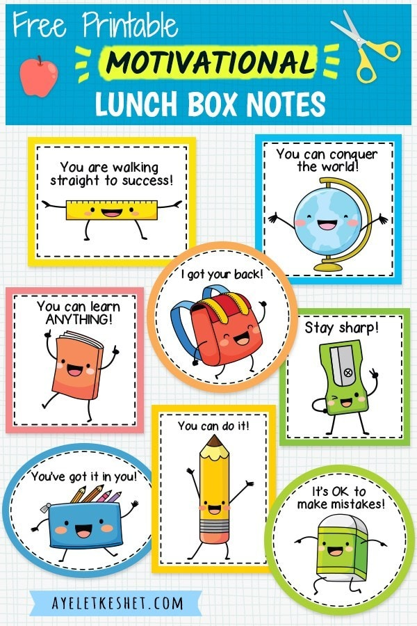 Free printable lunch box notes with motivational messages