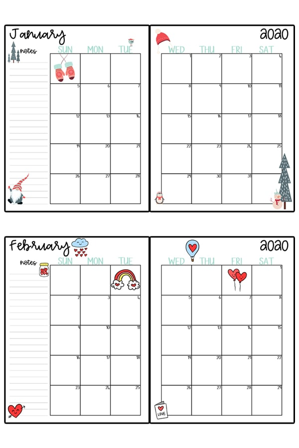 This image represents a 2020 calendar printable. The image shows two images, one at the top center, and one at the bottom center. It is two free printable calendars, for the months January and February.