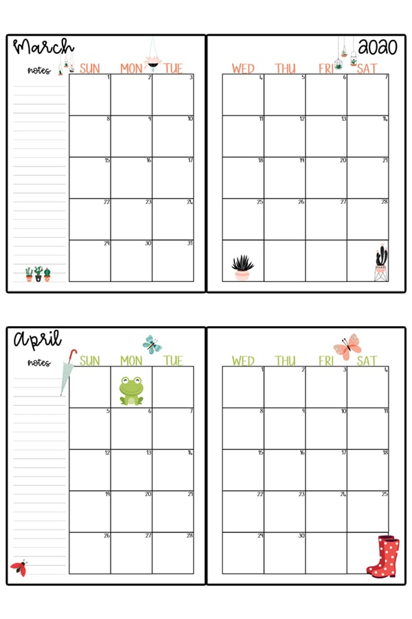 This image represents a 2020 calendar printable. The image shows two images, one at the top center, and one at the bottom center. It is two free printable calendars, for the months March and April.