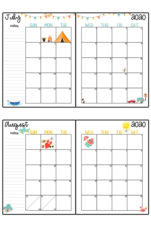 This image represents a 2020 calendar printable. The image shows two images, one at the top center, and one at the bottom center. It is two free printable calendars, for the months July and August.