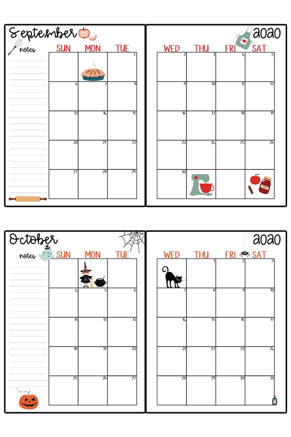 This image represents a 2020 calendar printable. The image shows two images, one at the top center, and one at the bottom center. It is two free printable calendars, for the months September and October.