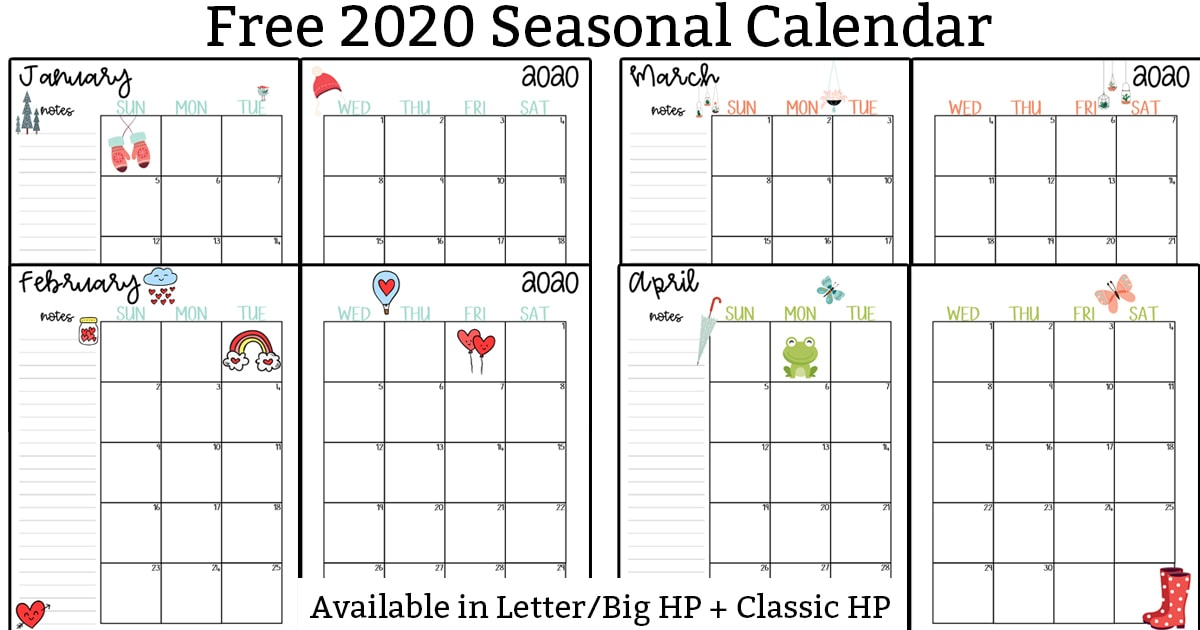 This image shows pictures of 2020 calendar printable set - At the top, the title is Free 2020 Seasonal Calendar. In the middle, it shows the printable months layered on top of each other. At the bottom, it says available in letter/Big HP + Classic HP.