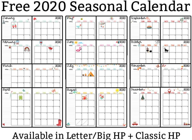 2020 Calendar Printable - Free Printable 2020 Monthly Calendar