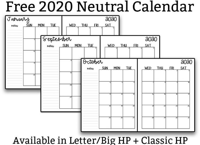 The image is for a 2020 free printable calendar. At the top of this image, it says: FREE 2020 neutral calendar. Underneath it shows 4 different examples of the neutral calendar - examples of January, September, October, and December. The Bottom says available in Letter/Big HP + Classic HP.