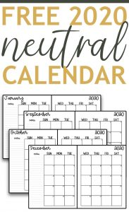 The image is for a 2020 free printable calendar. At the top of this image, it says: FREE 2020 neutral calendar. Underneath it shows 4 different examples of the neutral calendar - examples of January, September, October, and December.