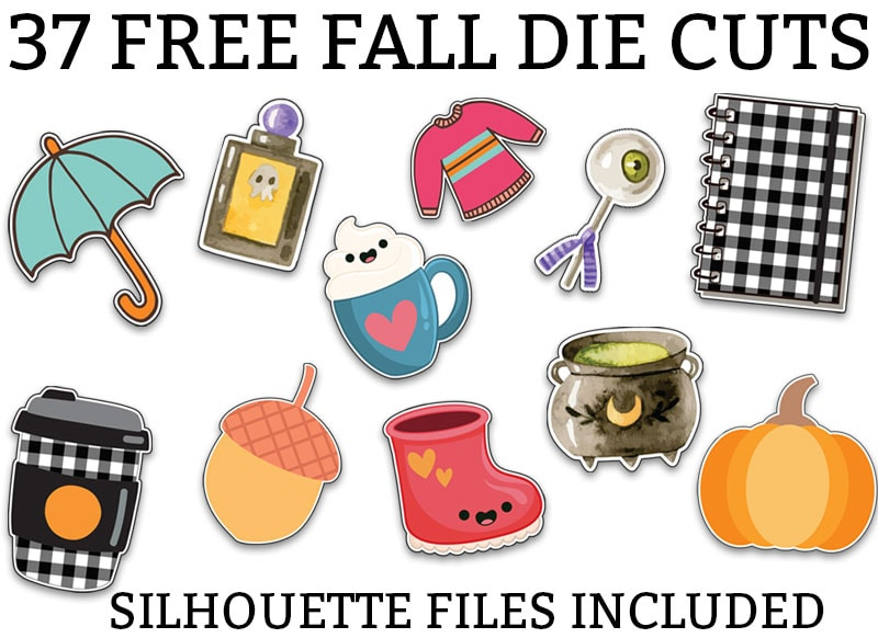 At the top of the image is the words: 34 free fall die cuts in black print. Underneath are multiple fall and halloween clip art images including: an umbrella, coffee cup, potion bottle. second coffee mug, acorn, pink boot, pink sweater, witches brew cauldron, eyeball lollipop, pumpkin, and planner with buffalo plaid.