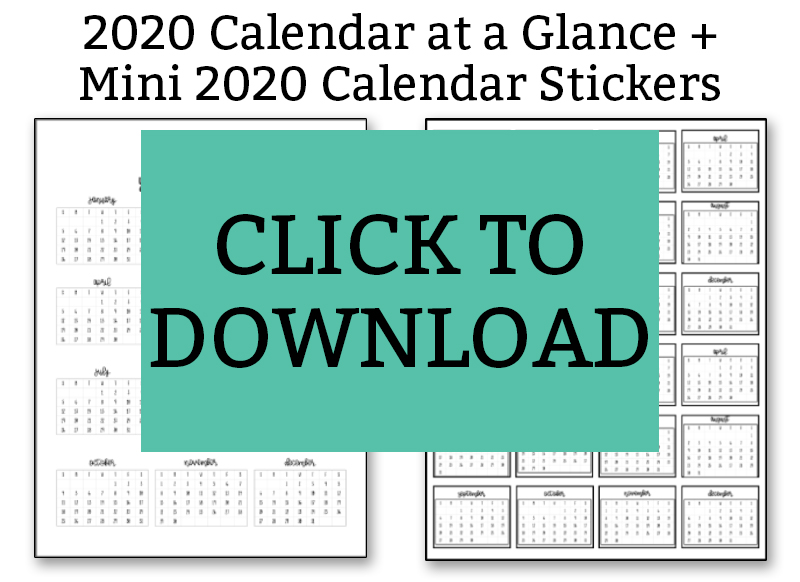 2020 Calendar at a Glance Download Button
