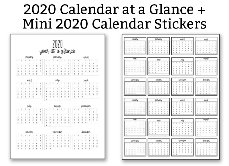 2020 Calendar at a Glance and Mini 2020 Calendar Stickers in black text at the top. Below to the left is a copy of the 2020 Calendar at a Glance in black and white. The right side shows the 2020 Mini Calendar stickers.