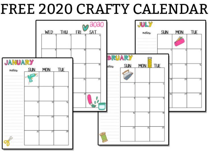 Free 2020 Craft Calendar - A Craft Themed Printable Calendar