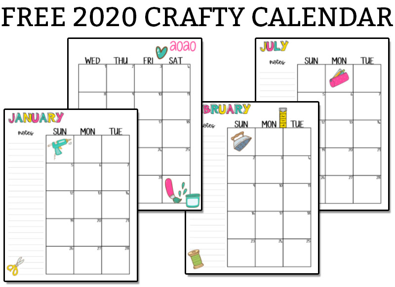 Free 2020 Printable Craft Calendar at the top in black text on a white background. Below it are pages from the craft calendar.