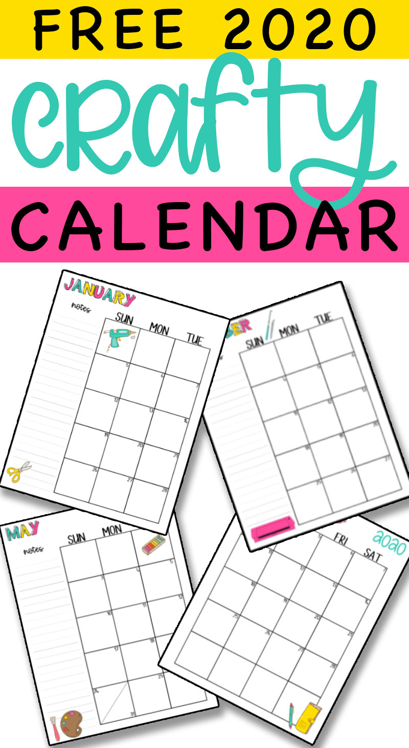 Free 2020 Printable Craft Calendar at the top. Below it are pages from the craft calendar.