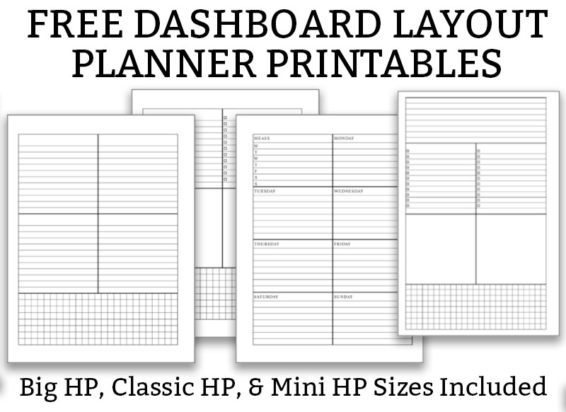 Free dashboard layout planner printables example at the bottom. The top says Dashboard Layout Planner Printables in black text on white background.