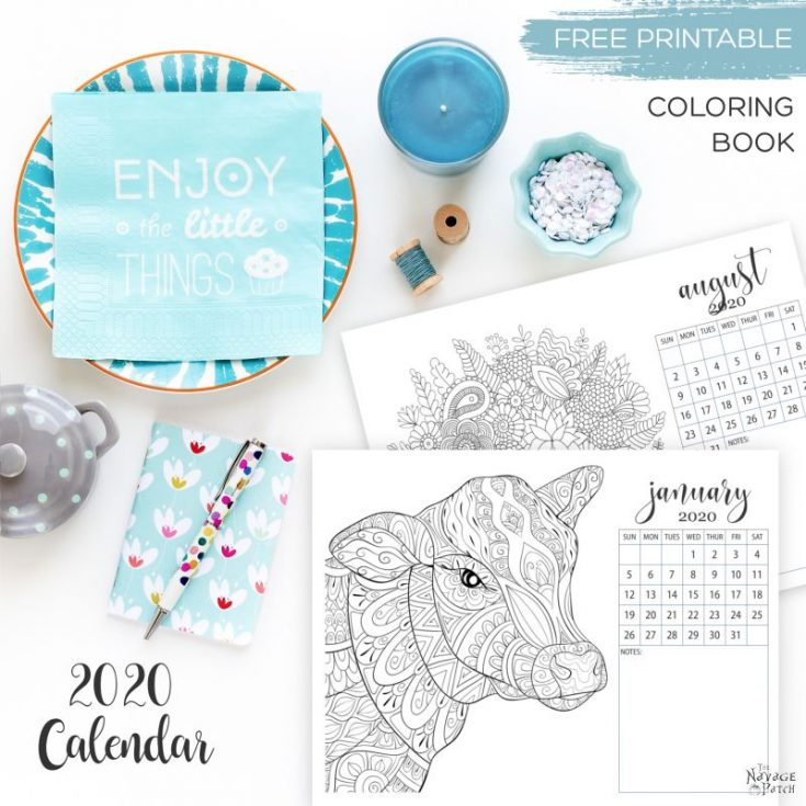 Free Printable Adult Coloring Calendar for 2020