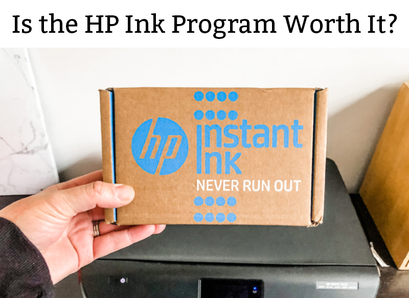 Is the HP Ink Program Worth it? Is in black text at the top of the page on a white background. Below that is a picture of the brown cardboard HP ink program box (with blue text: Instant Ink. Below that in white, Never Run Out. And on the left is a blue logo that says HP in a script font with a blue circle behind it).