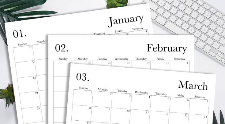 Free Printable 2020 Monthly Calendar – Classic