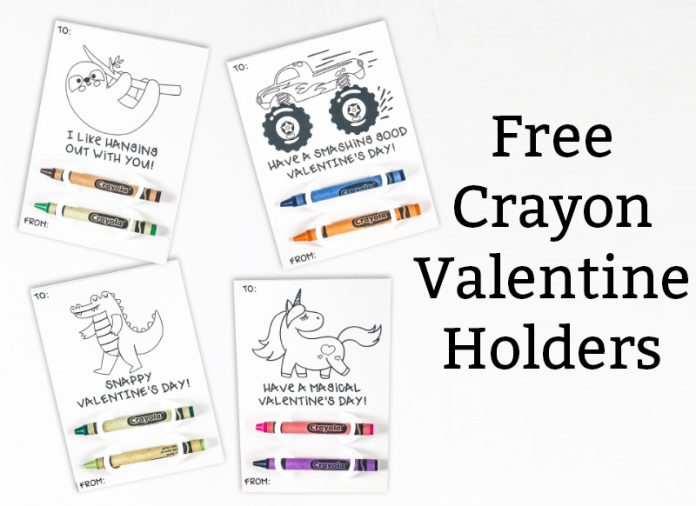 Free crayon holder valentine is in black text to the right of the image. To the left are 4 valentines with crayons including a unicorn, sloth, monster truck, and gator. They are in black and white.