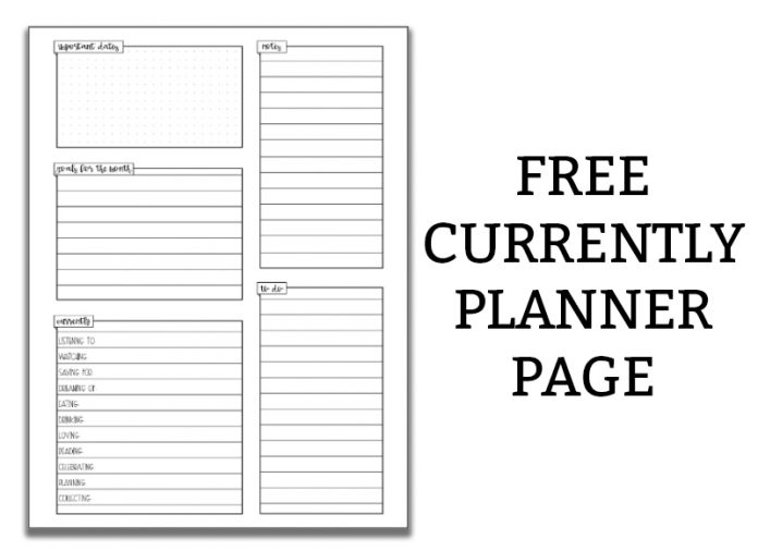 Free currently planner page to the right of the image in black text and white background. To the left is an example of the currently page available to download. It's a white background with black text.