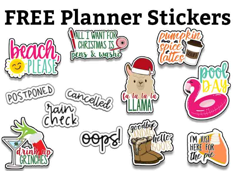 Planner Printable Stickers - this has Free Planner Stickers at the top in black text with a white background. Below the text are multiple sticker images - some for Christmas, summer, and fall.